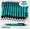 Spot Pen-Silver Accents, Teal Body & Spotted Grip-Blanks-50pkg