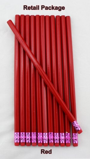 ezpencils - 12 pkg. Blank Hexagon Pencils - Red