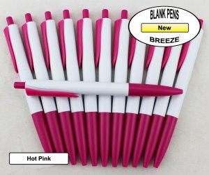 Breeze Pens - White Body with Hot Pink Accents - Blanks - 50pkg