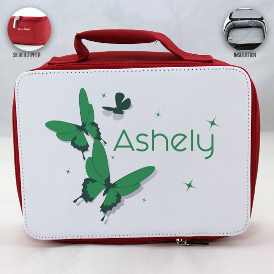 Personalized Butterfly Theme - Red School Lunch Box for kids - Click Image to Close