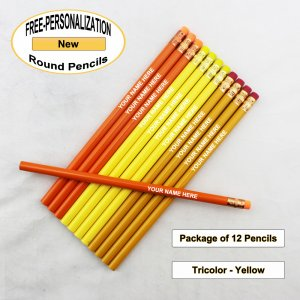 ezpencils - Personalized Tricolor-Yellow Round Pencil - 12 pkg