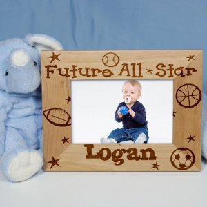"New Baby ""Future All-Star"" Personalized Wood Picture Frame"