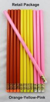ezpencils - 12 pkg. Blank Hexagon Pencils - Orange-Pink-Yellow