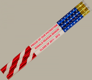 12 Patriotic Flag Personalized Motivational Pencil