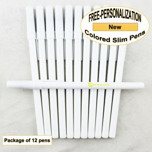 Colored Slim, White Body, Cap and Accents, 12 pkg - Custom Image