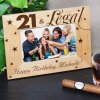 Engraved 21st Birthday Wood Picture Frame