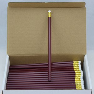 ezpencils - 144 Maroon Hex Pencils - Non-Personalized