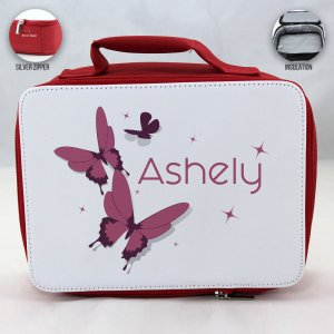 Personalized Butterfly Theme - Red School Lunch Box for kids