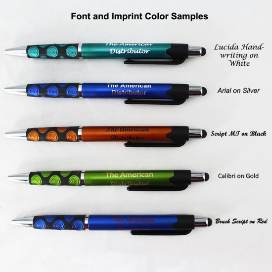 Elegant Tip and Stylus Click - Solid Green Body & Spotted Grip - Click Image to Close