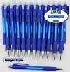 Grid Pen - Clear Dark Blue Body with Grid Grip - Blanks - 50pkg