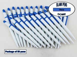 Dome Pen -White Body and Light Blue Accents- Blanks - 50pkg