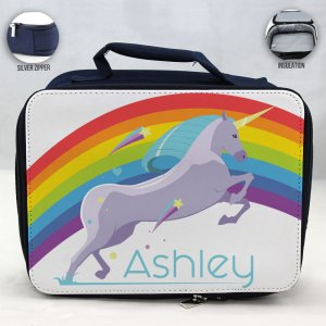 Personalized Unicorn Theme - Blue School Lunch Box for kids