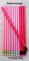 ezpencils - 12 pkg. Blank Hexagon Pencils - Tri-Color Pinks