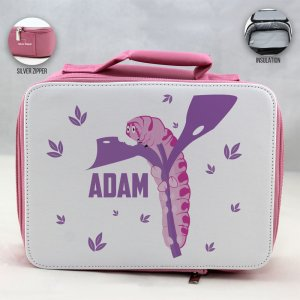 Personalized Caterpillar Theme - Pink School Lunch Box for kids