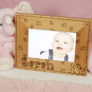 "New Baby ""Lovely As A Rose"" Personalized Wood Picture Frame"