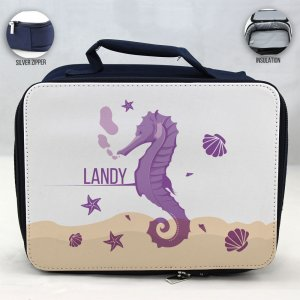 Personalized Sea Horse Theme - Blue School Lunch Box for kids