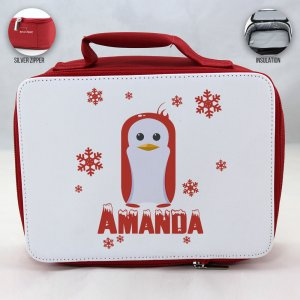 Personalized Penguin Theme - Red School Lunch Box for kids