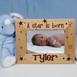 "New Baby ""A Star is Born"" Personalized Wood Picture Frame"