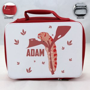 Personalized Caterpillar Theme - Red School Lunch Box for kids