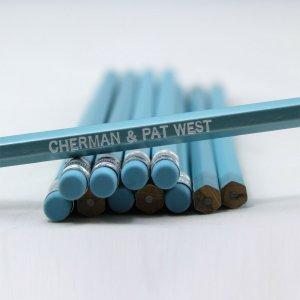 ezpencils - Personalized Pearl Blue Hex Pencils - 144 Pencils