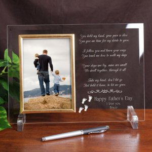 Following In Your Footsteps Personalized Father's Day Beveled Gl