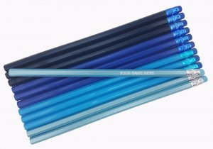 ezpencils - Personalized Blue-Quartet Hexagon Pencils - 12 pkg