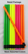 ezpencils - 12 pkg. Blank Hexagon Pencils - Neon Assorted Colors