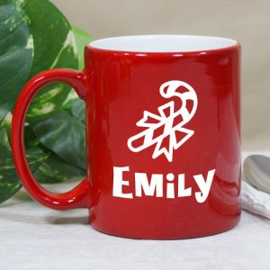 Candy Cane Hot Chocolate Personalized Red Coffee Mug