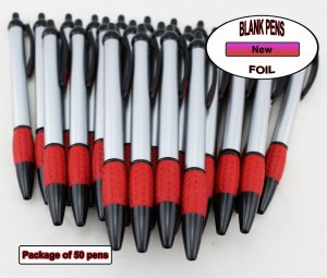 Foil Pen -Silver Foil Body with Red Accents- Blanks - 50pkg