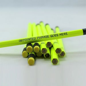ezpencils - Personalized Neon Yellow Hex Pencils - 144 Pencils