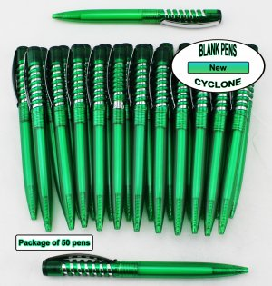 Cyclone Pen -Green Body and Silver Accent- Blanks - 50pkg
