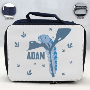 Personalized Caterpillar Theme - Blue School Lunch Box for kids
